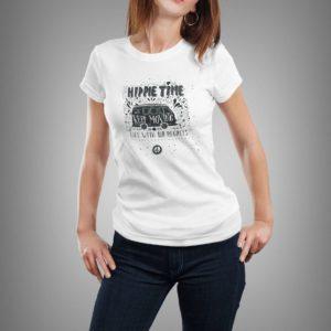 fehér hippie time mintás női póló