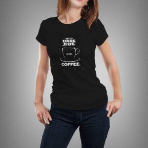 fekete come to the dark side mintás női póló