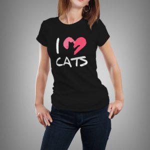 fekete i love cats mintás női póló
