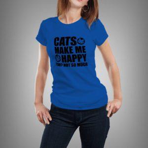 kék cats make me happy mintás női póló