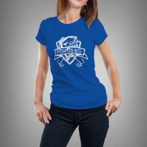 kék fishing mintás női póló