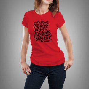 piros anyák napja mintás női póló
