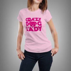 rózsaszín crazy dog lady mintás női póló