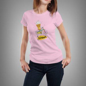 rózsaszín hello summer mintás női póló