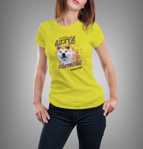 sárga akita mintás női póló