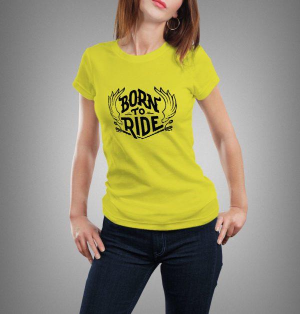 sárga born to ride mintás női póló