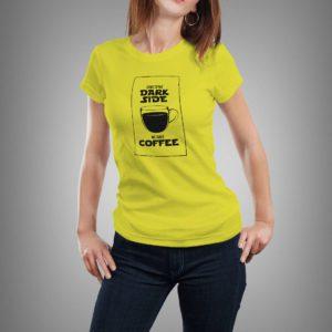 sárga we have coffee mintás női póló
