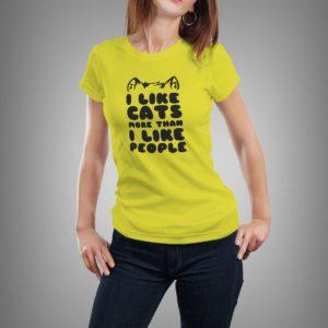 sárga i like cats mintás női póló