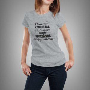 sötétszürke hivatásos nagymama mintás női póló