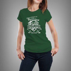 vadászzöld horgász szív mintás női póló