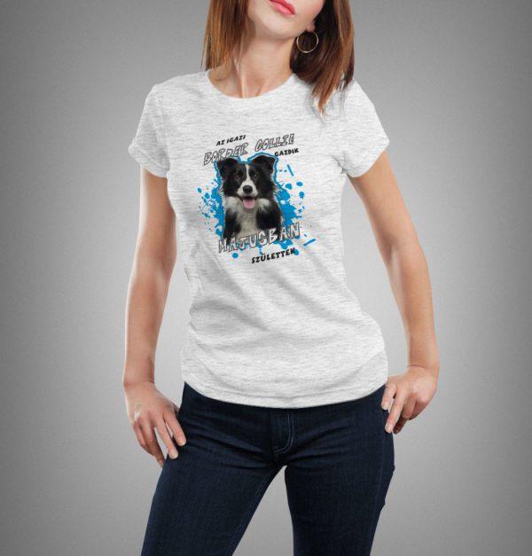 világosszürke border collie mintás női póló