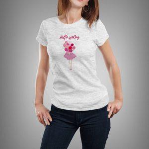 világosszürke hello spring lufis mintás női póló