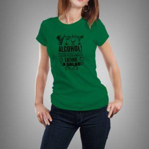 zöld alcohol! mintás női póló