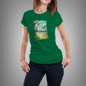zöld beach please mintás női póló
