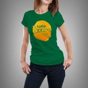 zöld hello spring mintás női póló