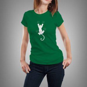 zöld karmolós macska mintás női póló