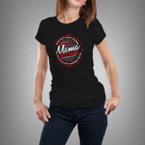 fekete mama dolga mintás női póló