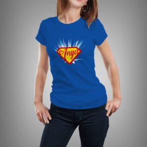 kék szuper anya mintás női póló