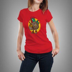 piros chiken&whisky mintás női póló