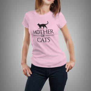 rózsaszín mother of cats mintás női póló