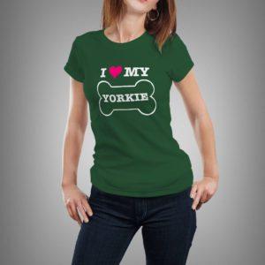 vadászzöld i ♥ my yorkie mintás női póló
