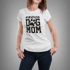 világosszürke proud dog mom mintás női póló