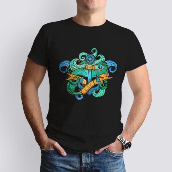 fekete anchor mintás férfi póló