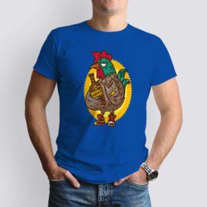 kék chiken&whisky mintás férfi póló