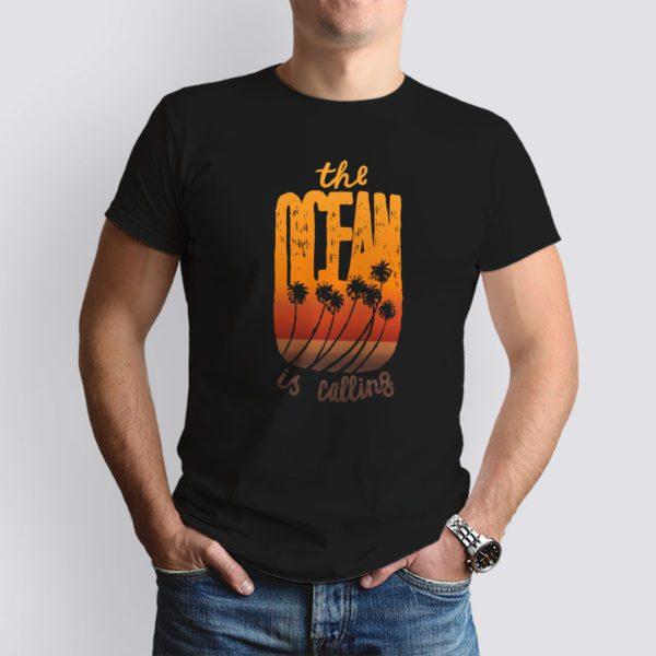 fekete the ocean mintás férfi póló