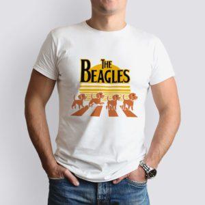 fehér the beagles mintás férfi póló