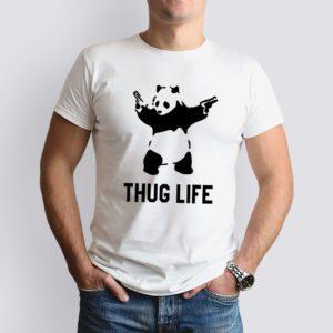 fehér thug life mintás férfi póló