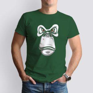 vadászzöld monkey mintás férfi póló