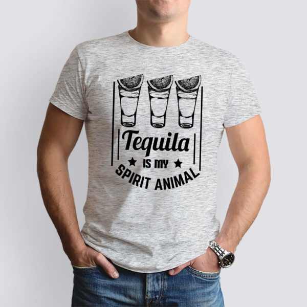 világosszürke tequila is my spirit animal mintás férfi póló